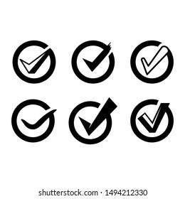 check list and tick symbols set