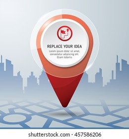 Check in location on the map diagram infographics. Location concept design. icon vector. background