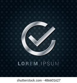 Check Mark 3D Silver/Platinum/Steel Metallic Premium Icon / Logo Design