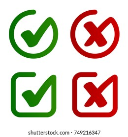 check mark approved rejected symbol vector