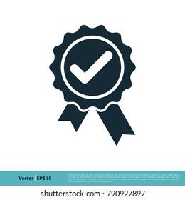 Check mark Award Stamp Icon Vector Logo Template