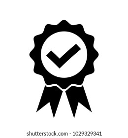 Check mark in badge with ribbons icon. Flat style design vector illustration.