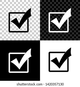 Check mark in a box icon isolated on black, white and transparent background. Tick symbol. Check list button sign. Vector Illustration