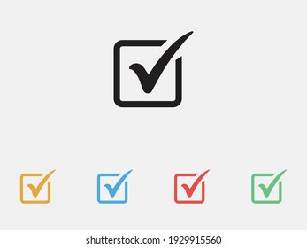 Check mark in box sign. Checkbox icon. Check, check mark vector icon. Tick icon. Filled icon. Set of colorful flat design.