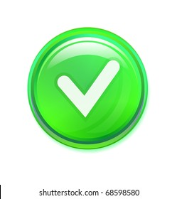 Check mark button on white