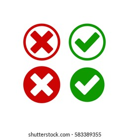 Check mark buttons. Red cross and green tick. Vector illustration. normal, hover, active button.