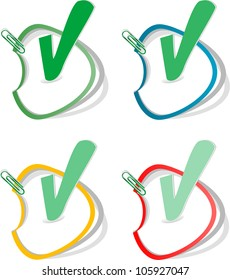 Check mark buttons. Vector stickers set