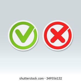 Check mark buttons. Vector tick and cross icons