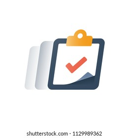 Check mark clipboard, task done, tick sign, complete test, fast service, brief summary concept, questionnaire form, quick opinion poll, enroll in education program, improvement planning, vector icon