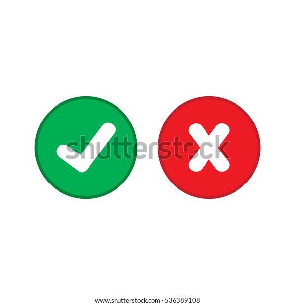 Check Mark Cross Mark Circle Isolated Stock Vector (Royalty