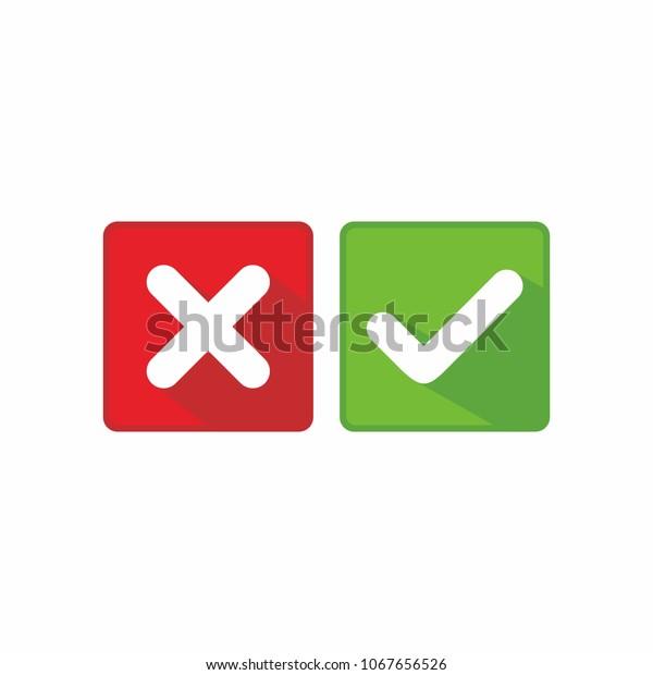 Check Mark Cross Mark Icon Vector Stock Vector (Royalty Free
