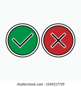 Check Mark and Cross Icon. Yes or No  Illustration As A Simple Vector Sign & Trendy Symbol for Design, Websites, Presentation or Application.