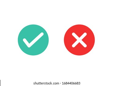 Check mark and cross icons on white background. Vector illustration