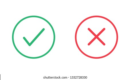 Check mark and cross icons. Vector illustration