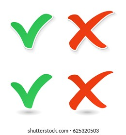 Check mark and cross mark on white background vector illustration. Yes and no check marks.