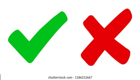 Check mark and cross - vector