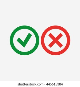 Check mark and cross vector icons