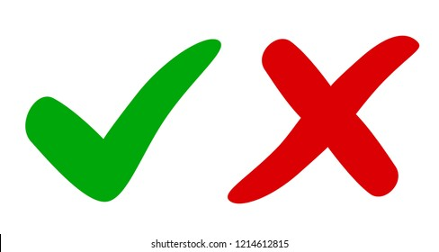 Check mark and cross - vector for stock
