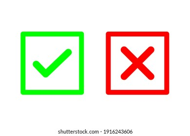 Check mark and cross or x icon in flat style on white background