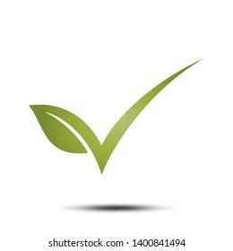 Check mark Green Leaf Environment Icon Vector Logo Template