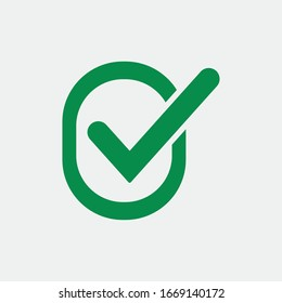 Check mark green line icons. Vector illustration. - Vector