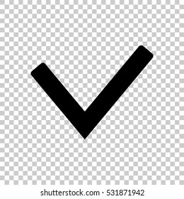 Check mark icon. Black icon on transparent background.