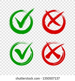 Check mark icon and cross on transparent background. Tick icon and red cross grunge style. Green check mark or tick vector symbols in circle for checklist, correct answer, website.