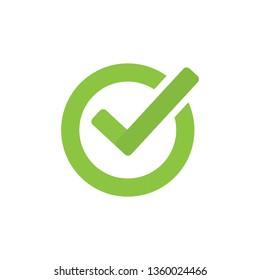 Check mark icon in flat style. OK, accept vector illustration on white isolated background. Tick business concept