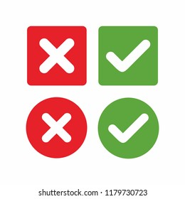 check mark icon, green check mark and red cross