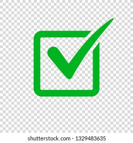 Check mark icon on transparent background. Tick simbol, vector illustration. Green checkmark in box for checklist, test, web.