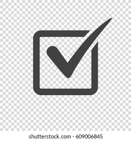 Check mark icon on transparent background. Tick simbol, vector illustration.