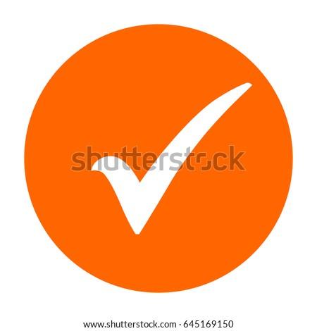 Check Mark Icon Orange Circle Tick Stock Vector Royalty Free