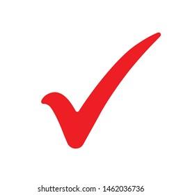 Check mark icon. Red tick symbol, vector illustration.