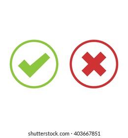 Check mark icon set in color . Vector illustration