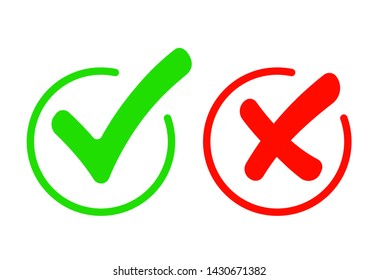 Check mark icon set. Green tick and red cross flat simbol. Check ok, YES or no, X marks for vote, decision, web.Correct and incorrect sign. Right, wrong icons.vector eps10