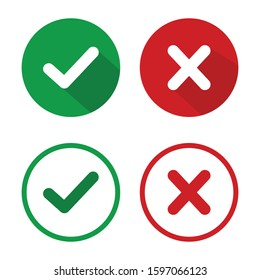 check mark icon set in green and red color vector Illustration