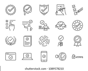Check mark icon set. Included the icons as correct, verified, certificate, approval, accepted, confirm, check List and more.