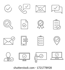 Check mark icon set. Included the icons as correct, verified, certificate, approval, accepted, confirm, check List and more. Web design, mobile app.