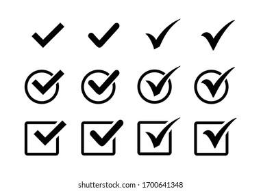 Check mark icon set, Check mark sign vector