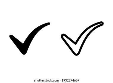 Check mark icon set. Check mark sign. Tick mark symbol vector