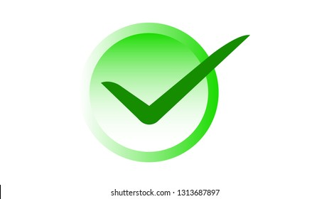 Check mark icon symbol in green color with circle shape gradient, vector illustration