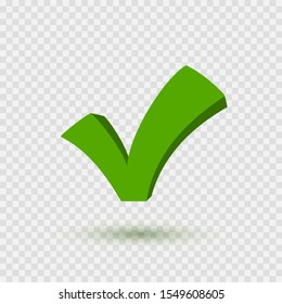 Check mark icon. Symbol Yes or OK button for correct, vote. Check sign isolated on transparent background. Vector green checkmark element.