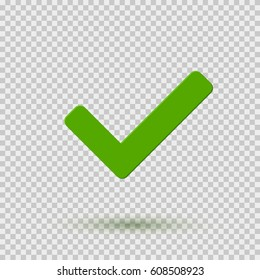 Check mark icon. Symbol Yes or OK button for correct, vote, check. Checkbox symbol isolated on transparent background. Vector tick sign or checkmark graphic element design.