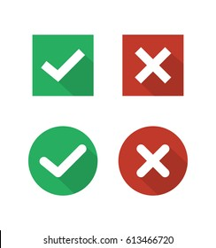 Check mark icon in trendy flat style. Wrong and right check mark flat icons with long shadow. Yes or No icons vector. Isolated on white background. EPS10.