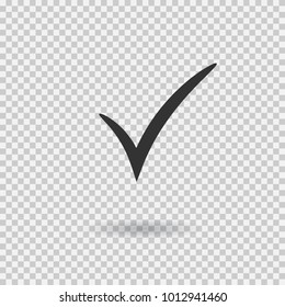 Check mark icon. Vector checkmark button. Tick symbol. Illustration with shadow on transparent background.