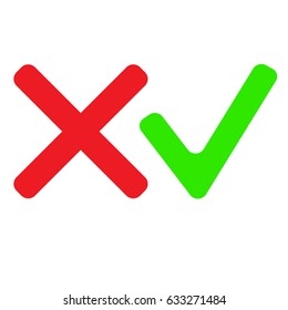 Check mark icons. Red and green color. Vector
