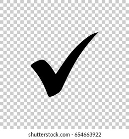 Check mark isolated on transparent background. Black symbol for your design. Vector illustration, easy to edit.