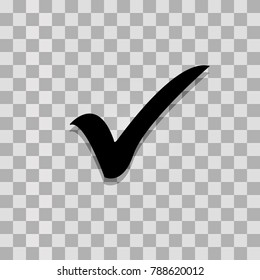 Check mark isolated on transparent background. Black symbol for your design. Vector illustration, easy to edit.v