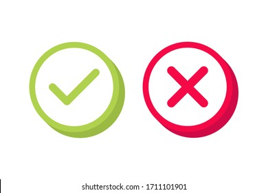 Check mark label. Green and red colors. Yes or no 3D buttons.Vector illustration.