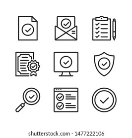 Check mark line icons. Checkmarks, ticks, quality, approve concepts. Simple outline symbols, modern linear graphic elements collection. Vector icons set